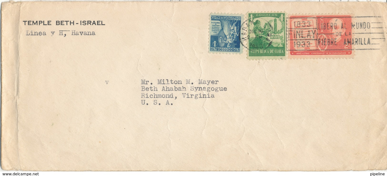 Cuba Cover (TEMPLE BETH - ISRAEL) Sent To USA Habana 16-12-1940 - Covers & Documents
