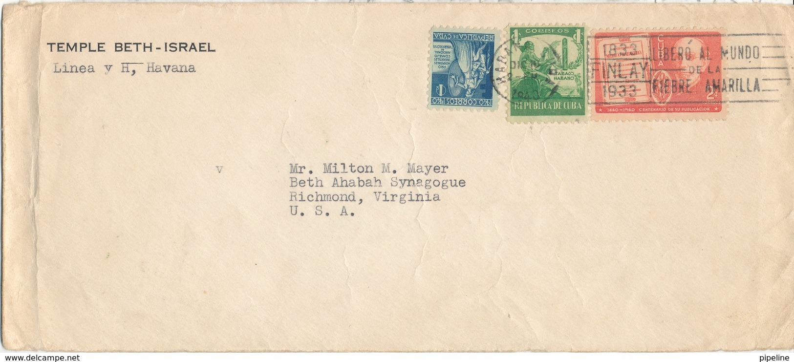 Cuba Cover (TEMPLE BETH - ISRAEL) Sent To USA Habana 16-12-1940 - Cuba