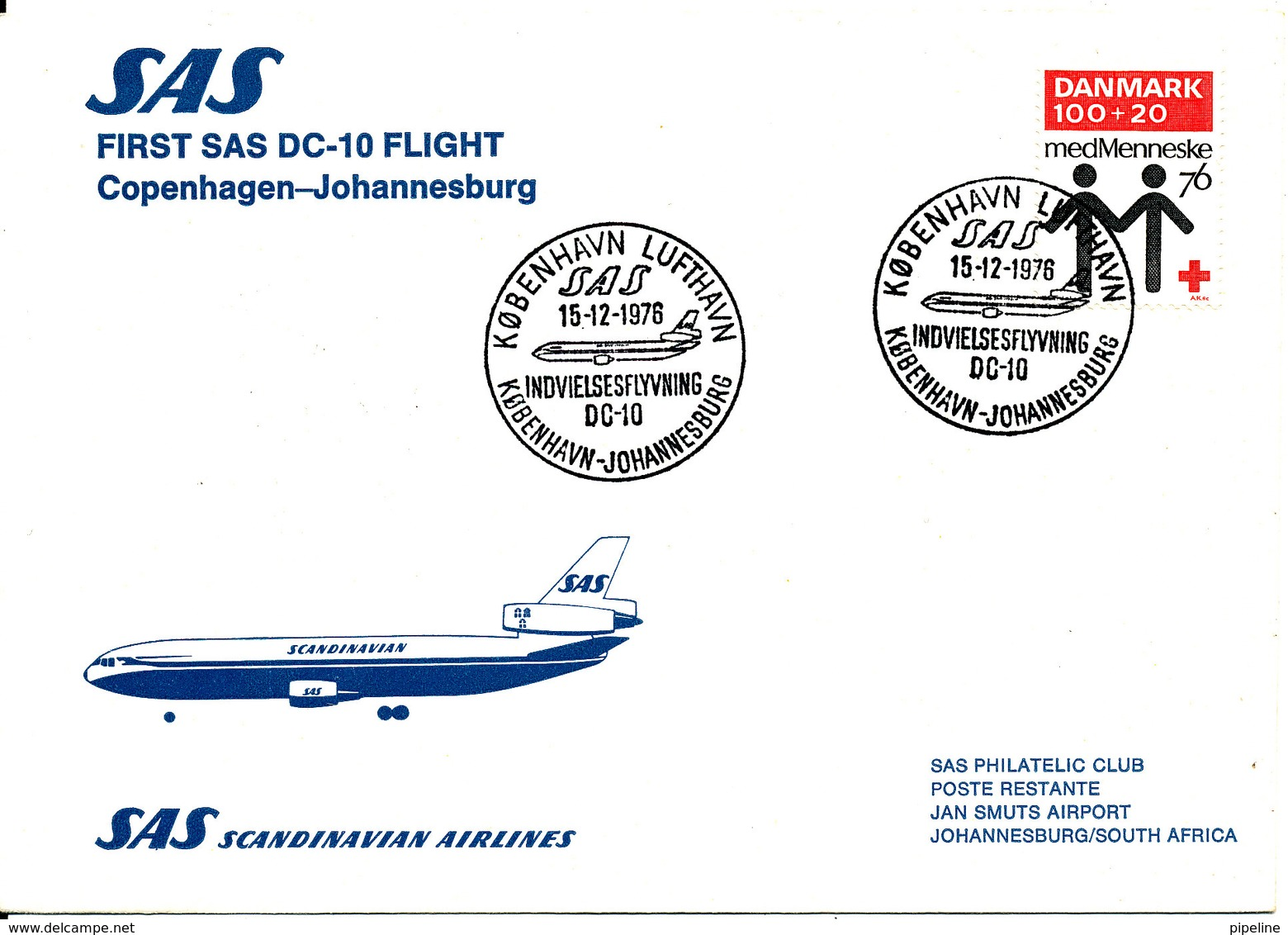Denmark SAS First Flight Copenhagen Johannesburg DC-10 15-12-1976 - Denmark