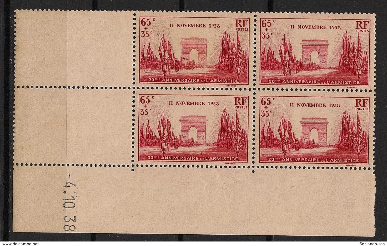 France - 1938 - N°Yv. 403 - Victoire / Armistice WW1 - Bloc De 4 Coin Daté - Neuf Luxe ** / MNH / Postfrisch - Ecken (Datum)