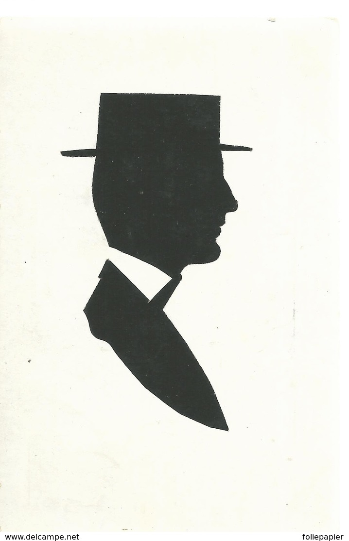 CPA - ILL. - SILHOUETTE - COLLAGE - PROFIL D'HOMME - ECRITE 1905- TBE - Otros Ilustradores