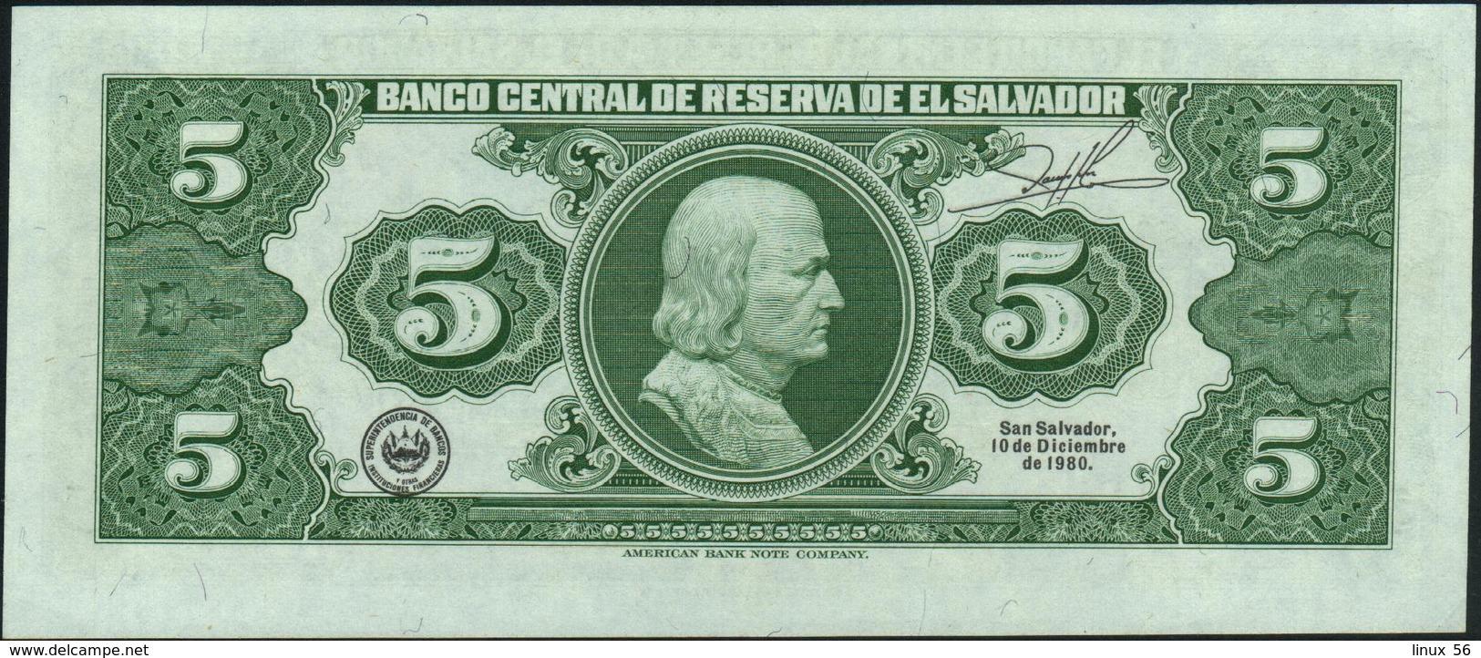 EL SALVADOR - 5 Colones 19.06.1980 UNC P.132 A - El Salvador