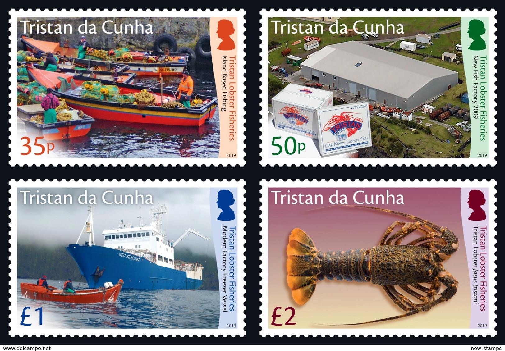 Tristan Da Cunha 2019 Lobster Fisheries Boats Ships 4v MNH - Bateaux