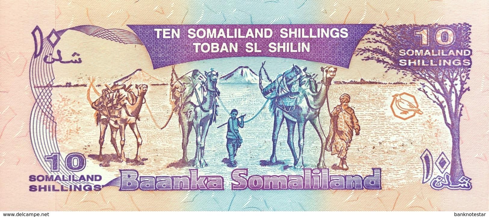 Somaliland 10 Shilin, P-9 (1994/1996) - UNC - Bronze Overprint - Somalia