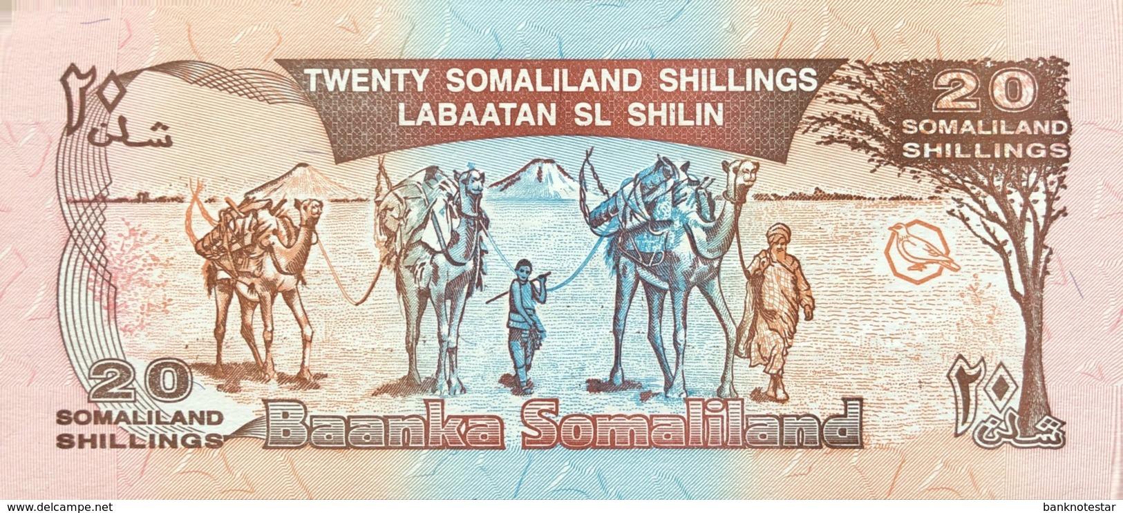Somaliland 20 Shilin, P-10 (1994/1996) - UNC - Bronze Overprint - Somalia