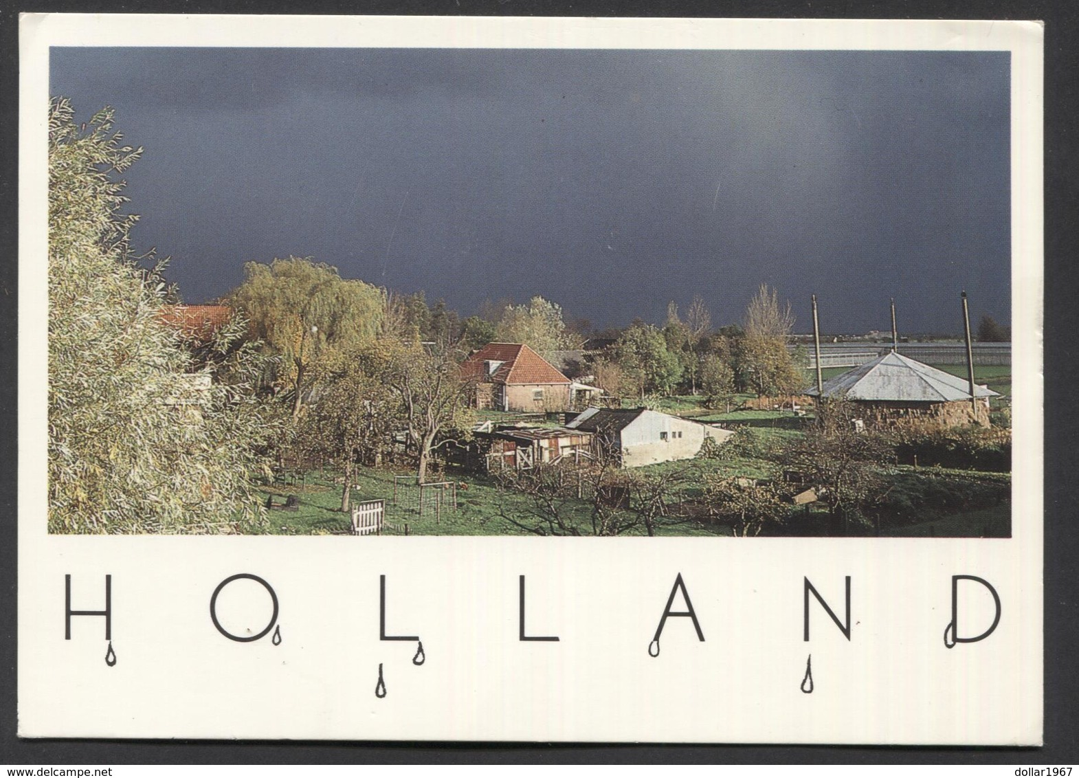 Holland - Dutch Farm Scape , Just Before Thunderstorm . -  NOT  Used - See The 2 Scans For Condition.(Originalscan ) - World