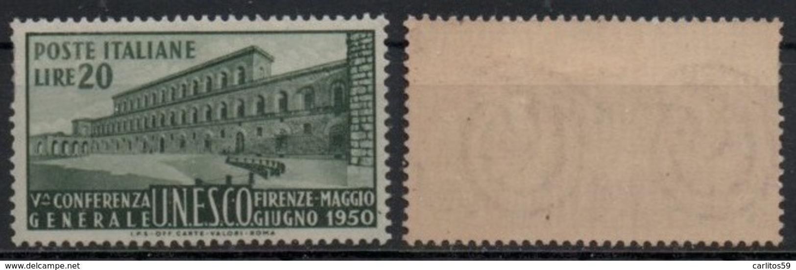 """Italia - Repubblica 1950 """"5^ Conferenza Dell'UNESCO L. 20"""" Nuovo - 6. 1946-.. Repubblica"""