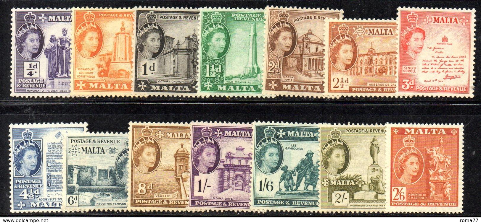 CI1102 - MALTA 1953 , Elisabetta II  Serietta Unificato N. 239/252  ***  MNH  (2380A) . - Malta