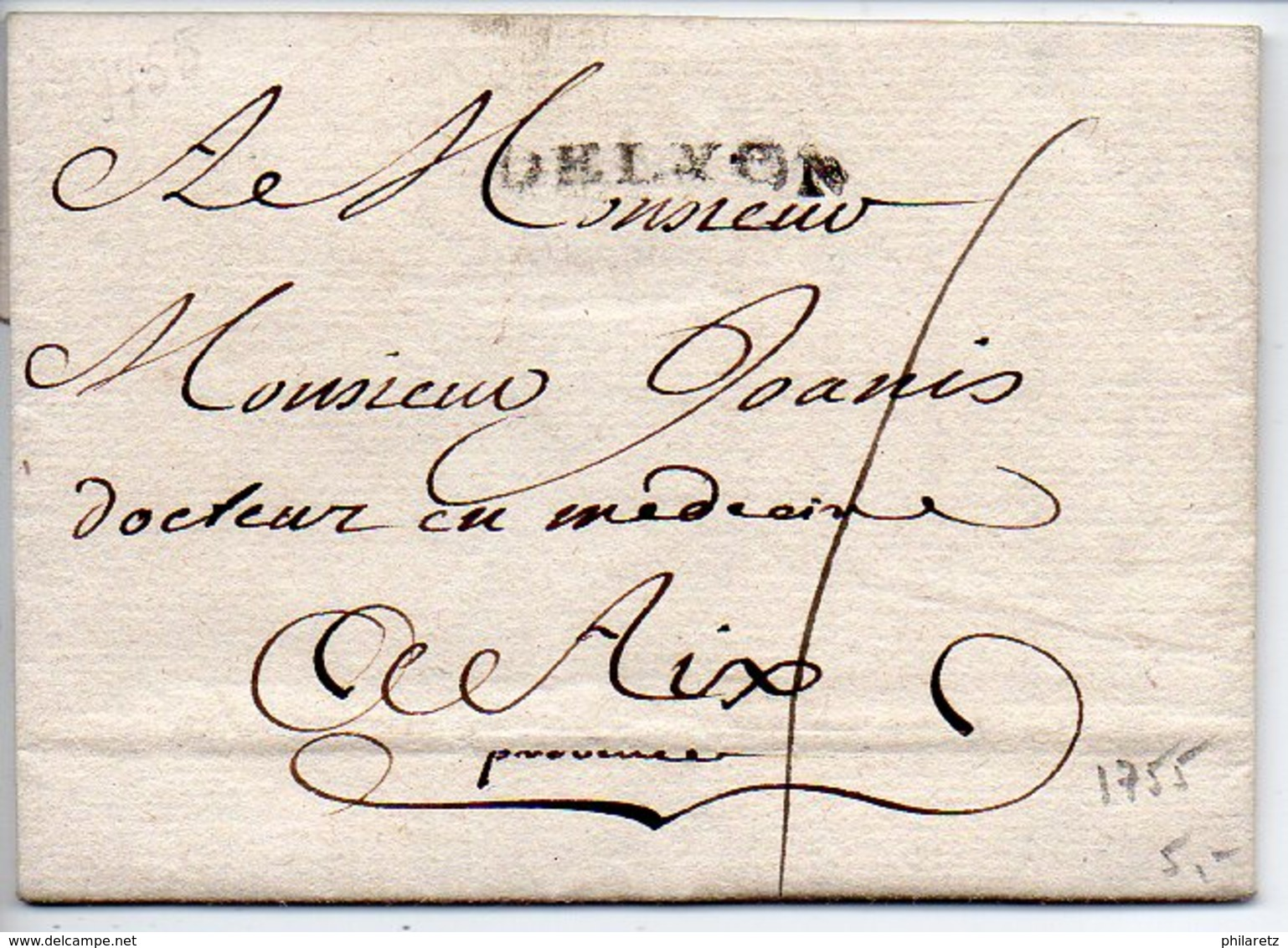 Marque Linéaire DE LYON Sur Lettre De 1755 - Marcofilia (sobres)