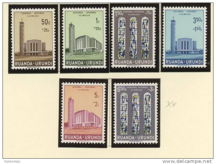 Ruanda**cathedrale Catholique Usumbura-6vals-1961-church-eglise-Congo-NSC-MNH - Ruanda-Urundi