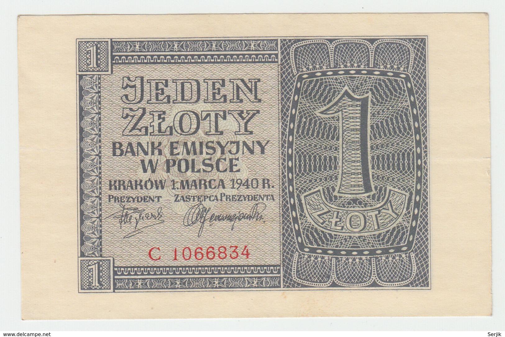Poland 1 Zloty 1940 XF+ Pick 91 - Polonia