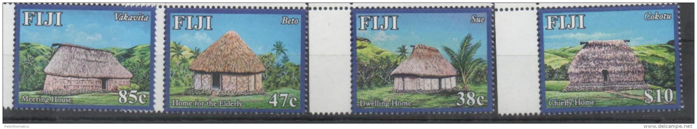 FIJI , 2016, MNH,HUTS, TREES, MOUNTAINS, DWELLINGS, 4v - Architecture