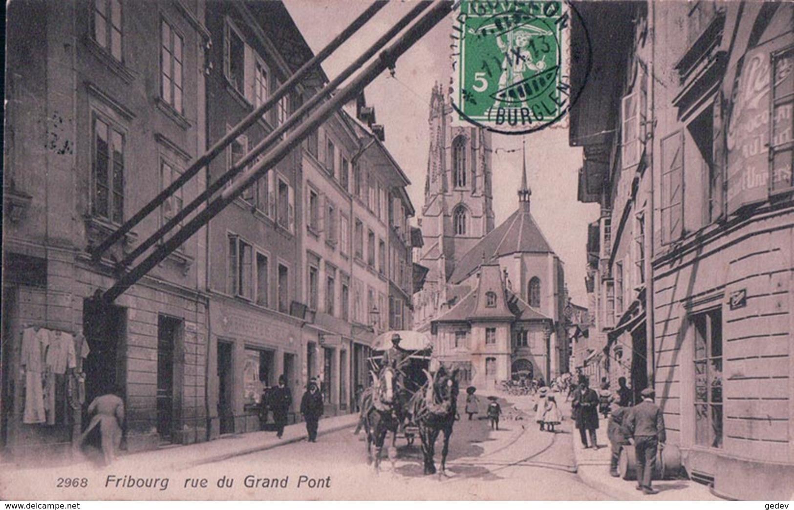 Fribourg, Diligence Rue Du Grand Pont, Attelage De 2 Chevaux (2968) - FR Fribourg