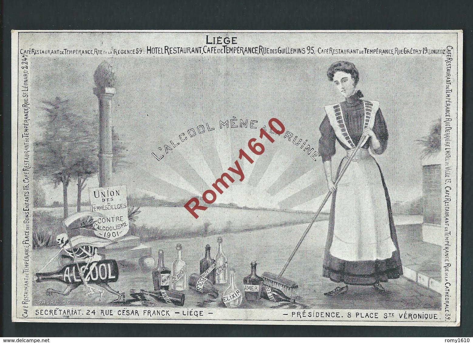 Liège. Union Des Femmes Belges Contre L'alcoolisme. Bouteilles D'alcool. Illustration Sacré. 1901. 2 Scans - Santé
