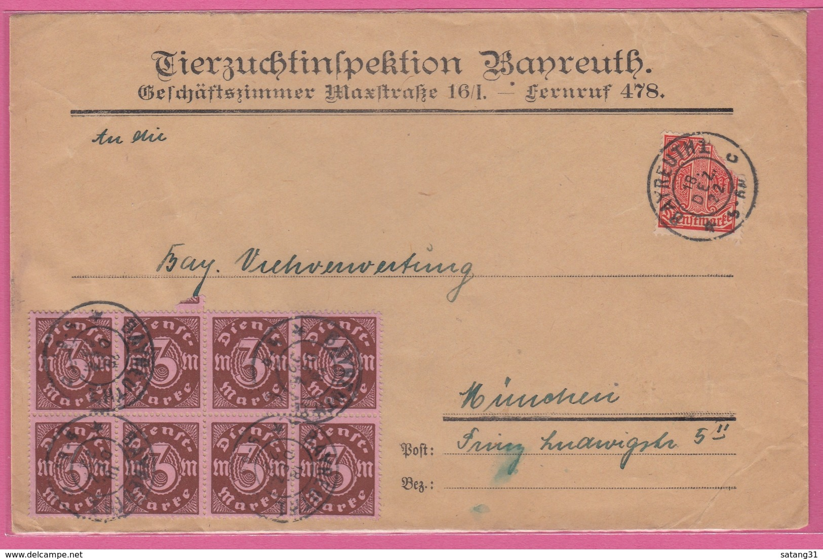 TIERZUCHTINSPEKTION,BAYREUTH.BRIEF MIT U.A. 8ER BLOCK DER NR D67. - Dienstpost