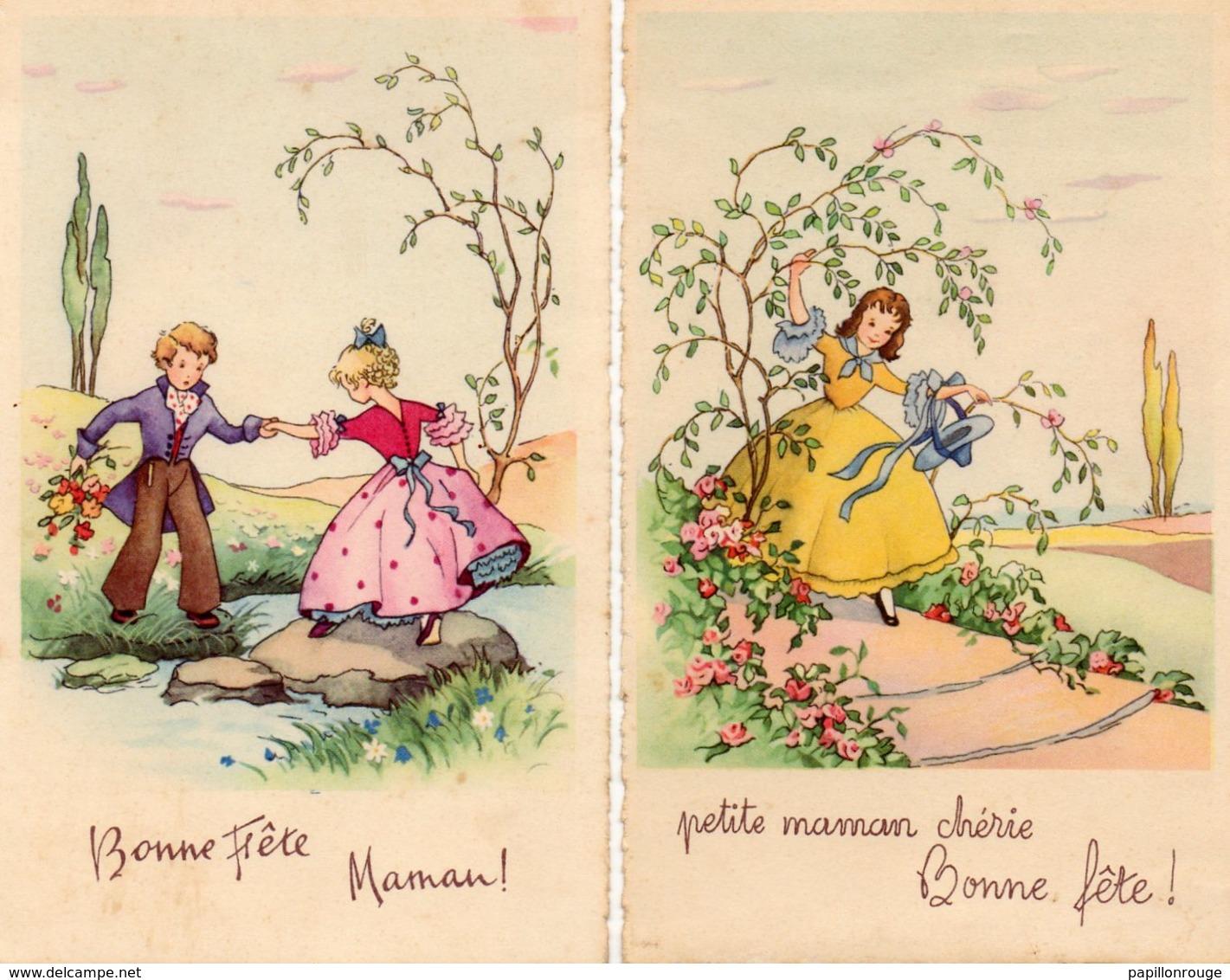 CP. Lot De 2 Cartes.  Bonne Fete Maman .  Enfants. Passage Du Ruisseau, Allée De Fleurs, Par M D . - Fête Des Mères