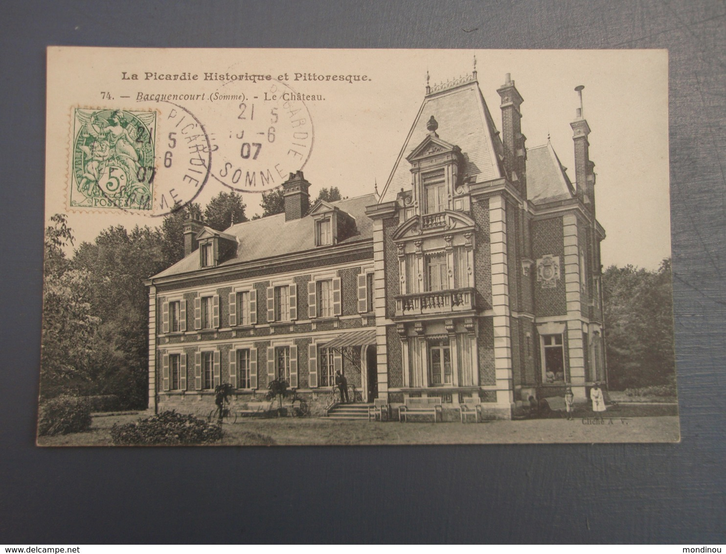 Cpa Bacquencourt Le Château Près De NESLE - HOMBLEUX 1907, Belle Carte - Francia