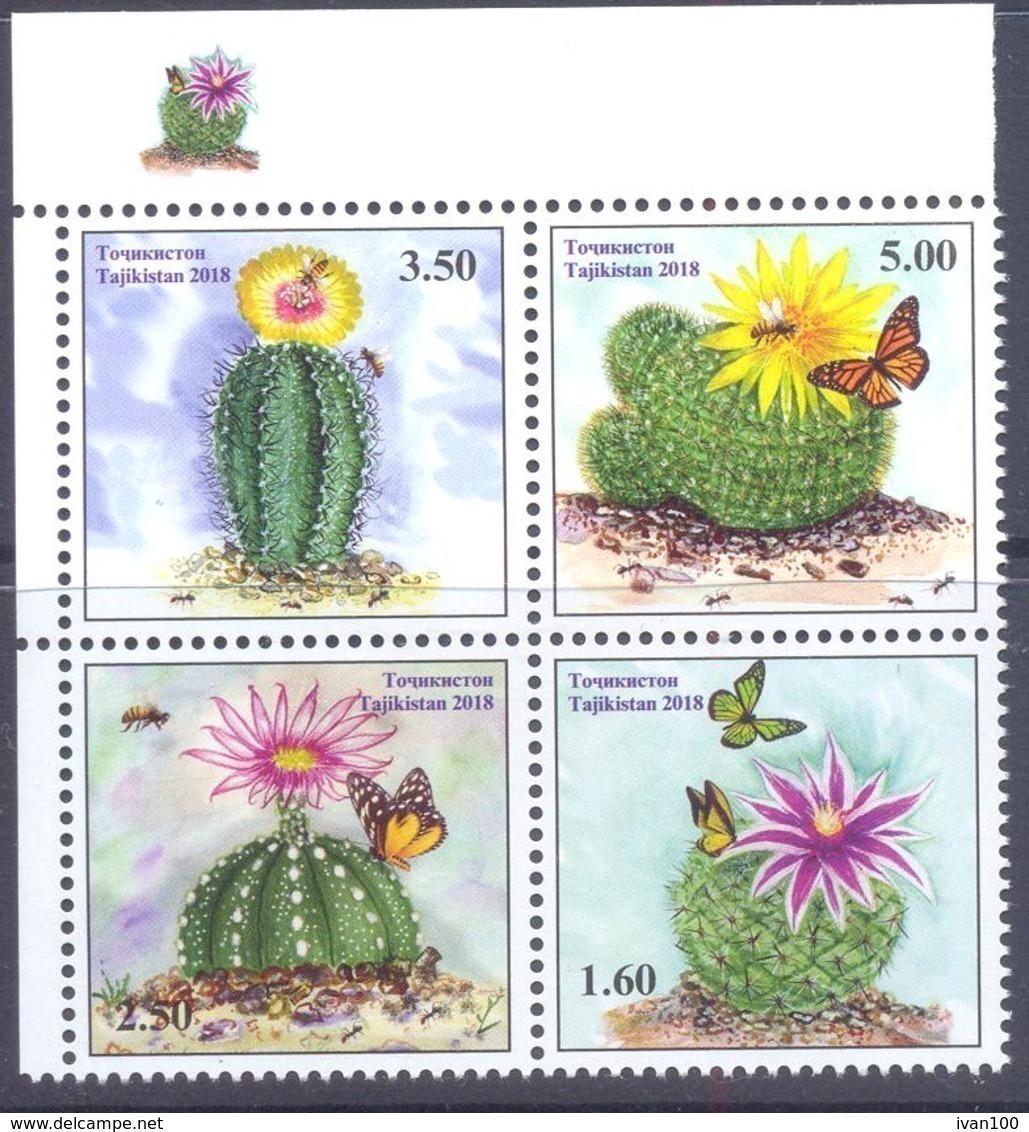 2018. Tajikistan, Cacti, 4v, Mint/** - Tadschikistan