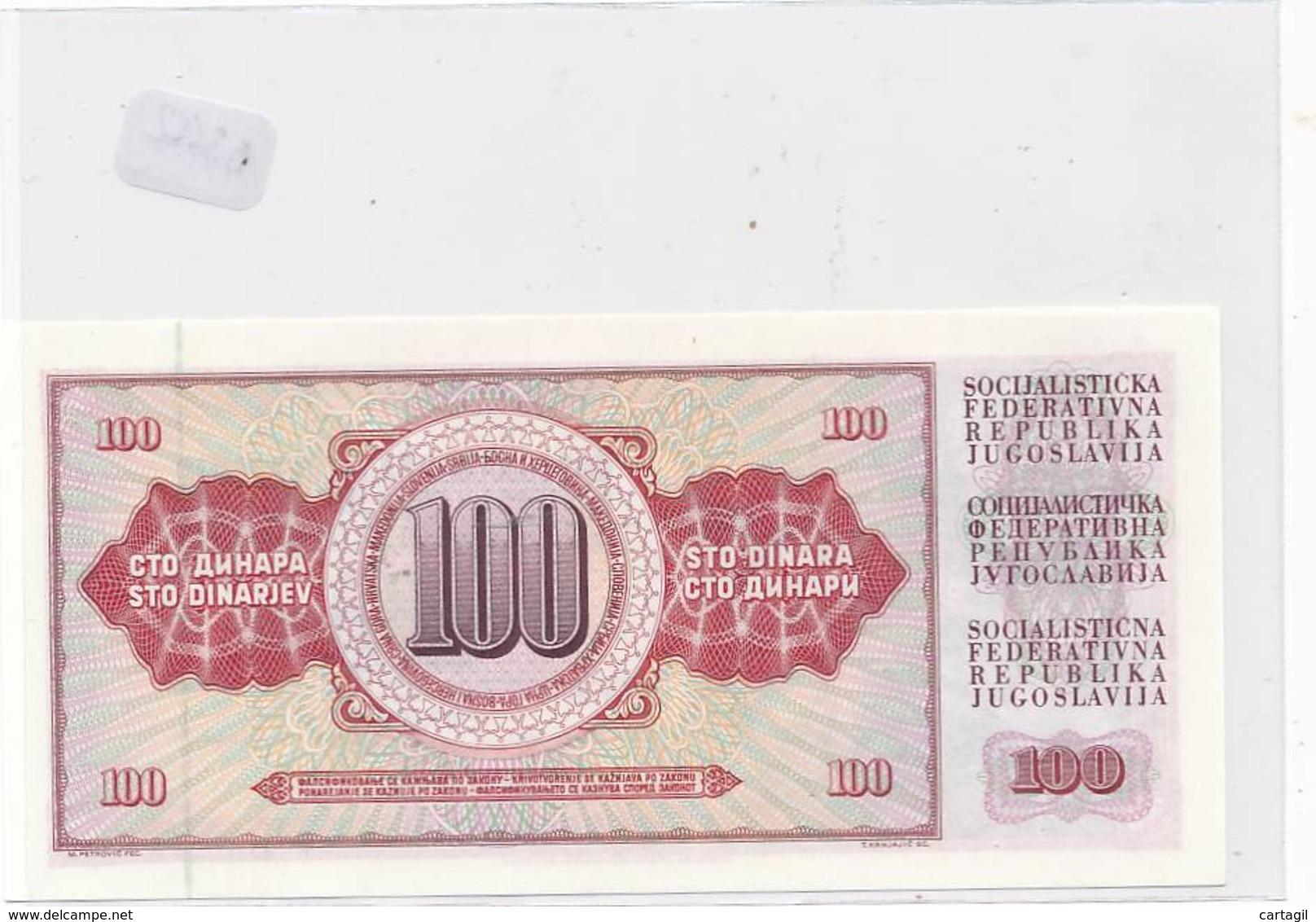 Numismatique -B3652-Yougoslavie -100 Dinara ( Catégorie,  Nature état ... Scans)-Envoi Gratuit - Bankbiljetten