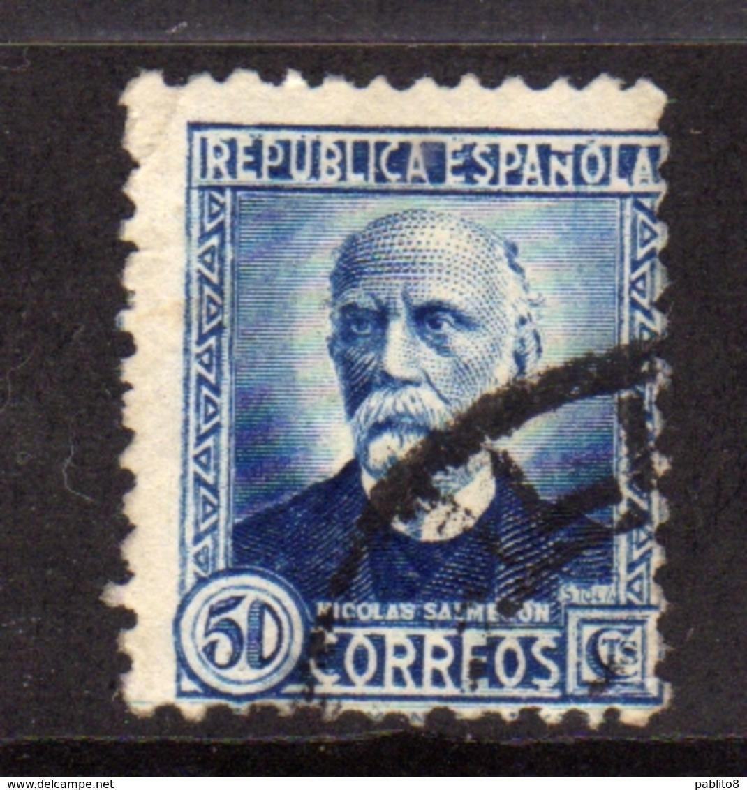 SPAIN ESPAÑA SPAGNA 1935 NICOLAS SAIMERON CENT. 50c USATO USED OBLITERE' - 1931-Aujourd'hui: II. République - ....Juan Carlos I