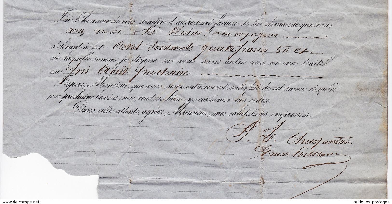 Lettre 1862 Maison E Meunier Charpentier Cuivre Cuivrerie Rue Croix Des Petits Champs Paris Commissaire De Police Nîmes - 1853-1860 Napoleon III
