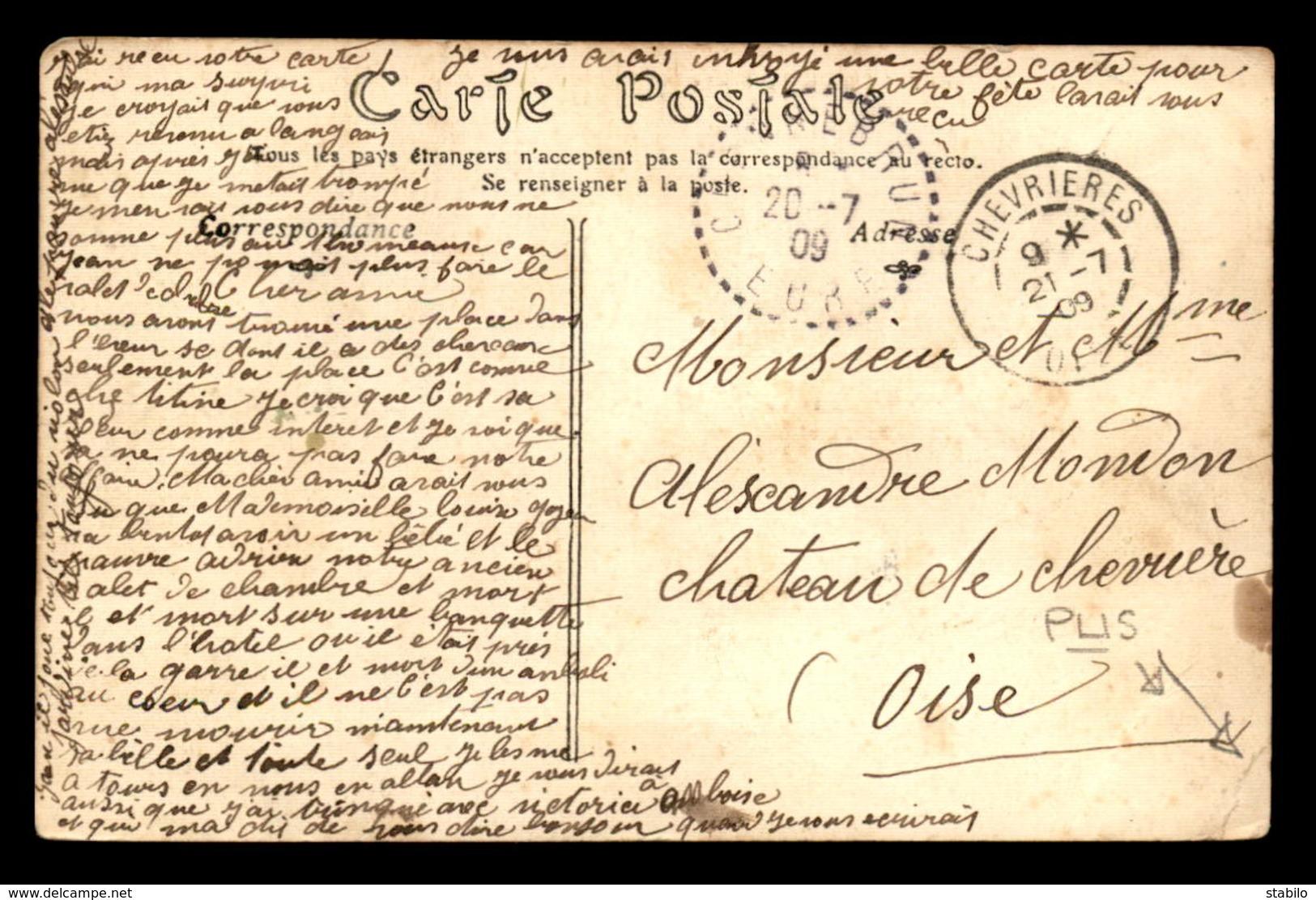 27 - CHENNEBRUN - LE CHATEAU - CARTE ANCIENNE TOILEE ET COLORISEE - France