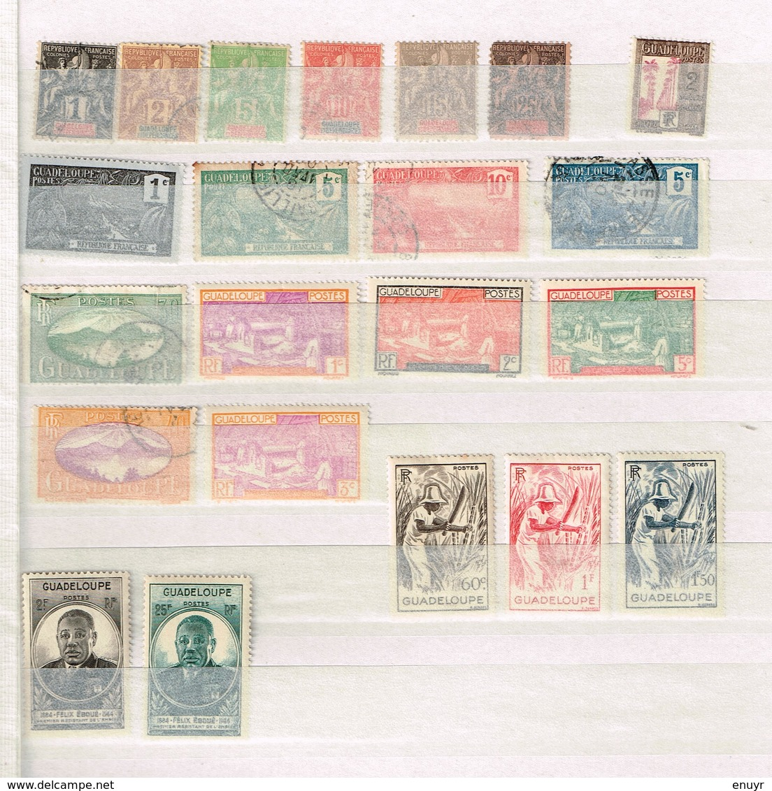 Lot Guadeloupe Anciens Timbres à Identifier - Postzegels