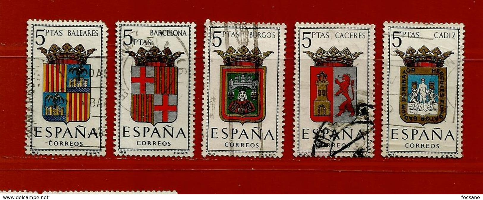 Espagne N° 1113 - 1114 - 1115 - 1116 -1117 - 1931-50 Usati