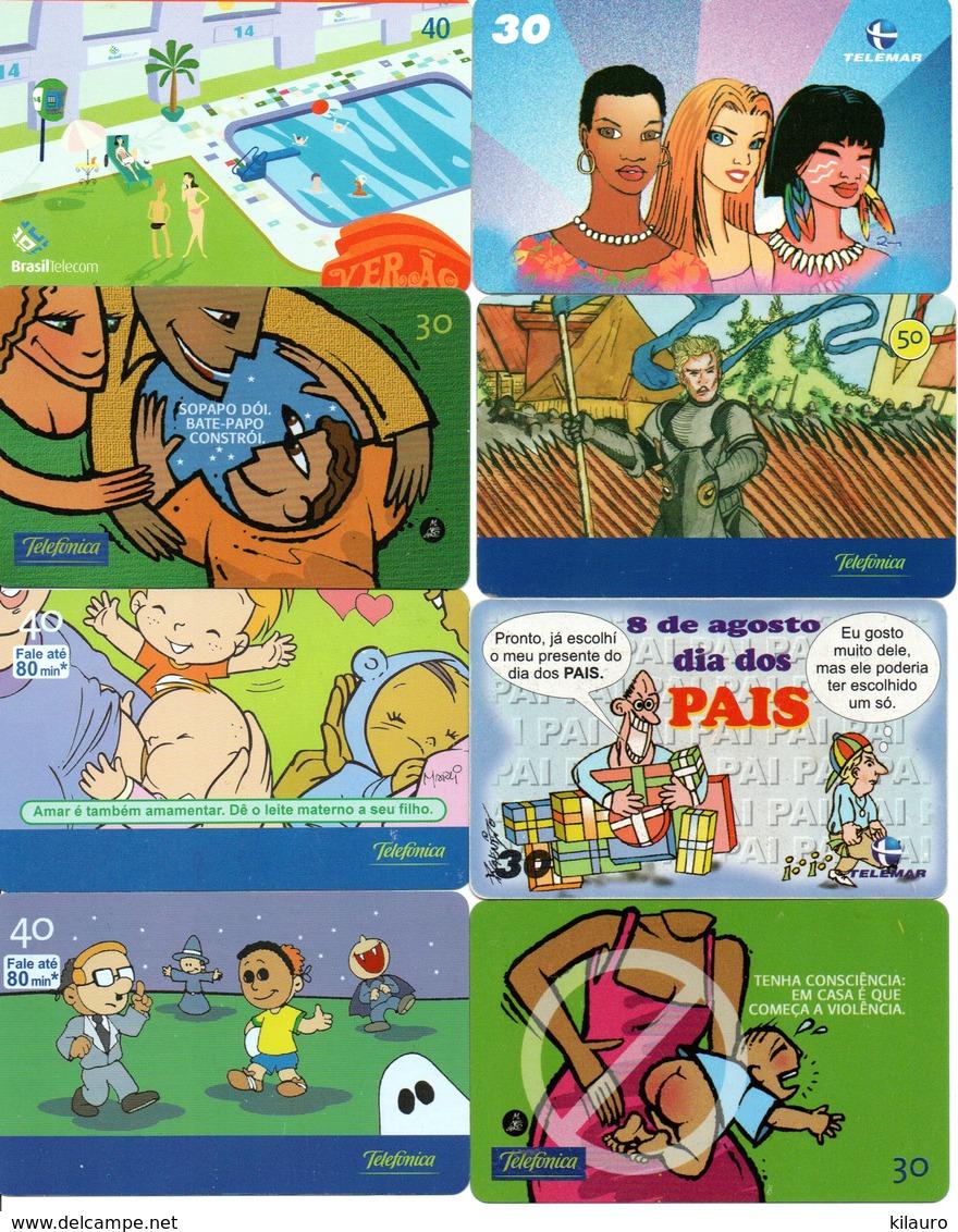 8 Télécartes Brésil Comic  BD Dessin Animé Pohonecard (D 513) - BD