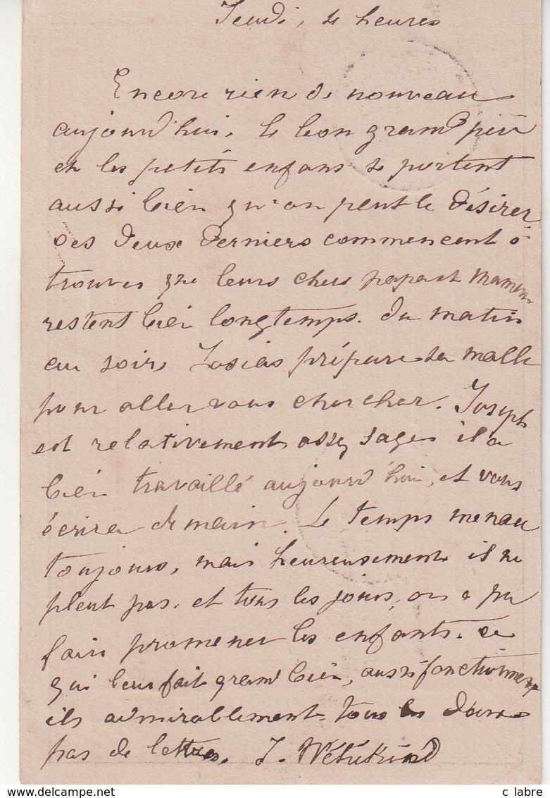 """FRANCE : N° 55 . TYPE CERES. SUR CARTE PRECURSEUR . OBL . """" QUIMPERLE """" . (28) . ET BM . 1876 . - Marcophilie (Lettres)"""