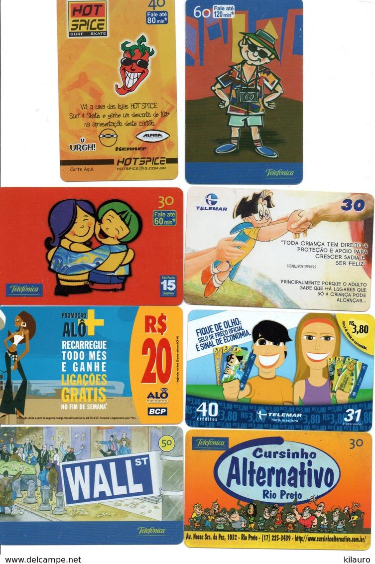 8 Télécartes Brésil Comic  BD Dessin Animé Pohonecard (D 522) - BD