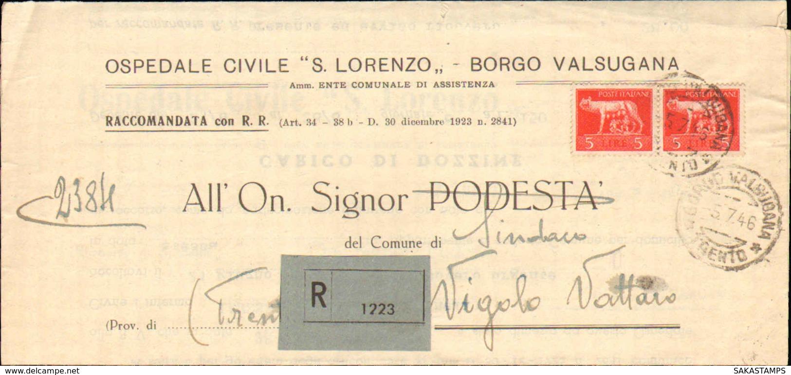 1946-piego Ospedaliero Raccomandato Affrancato Coppia L.5 Imperiale Senza Fasci Annullo Di Borgo Valsugana Trento Del 5 - 5. 1944-46 Luogotenenza & Umberto II