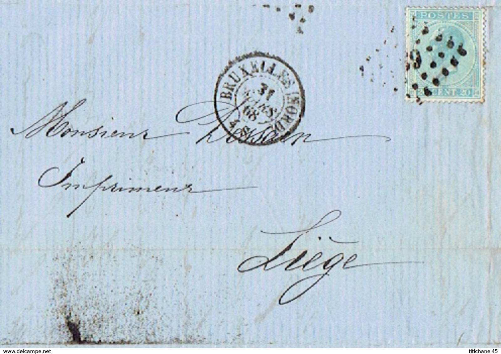 Lettre 1868 BRUXELLES - J. GEIGER - Papiers D'emballage - TP N°18 Oblit. LP63 BRUXELLES Le 31.3.1868 - Printing & Stationeries
