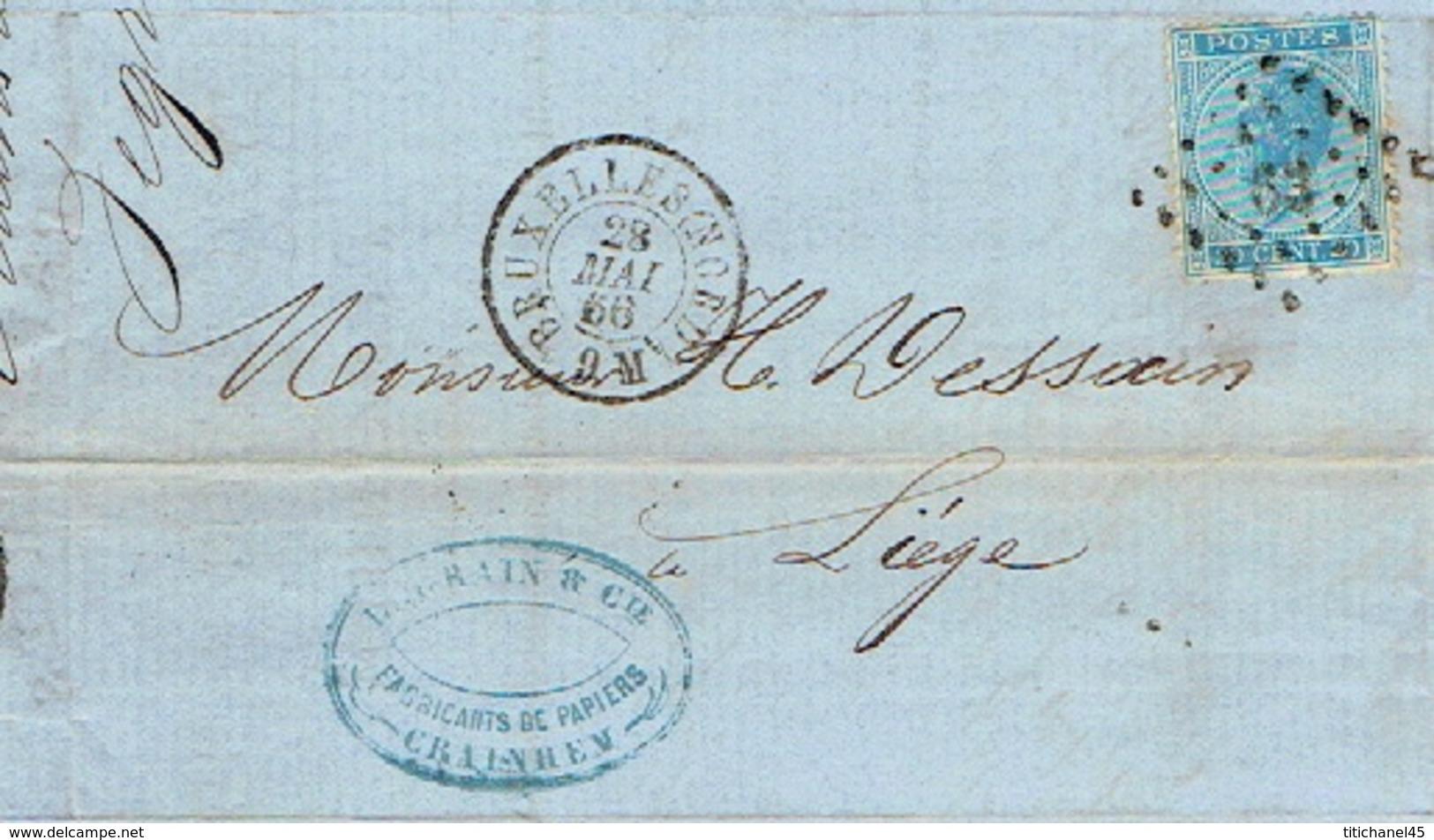 Facture  1866 KRAAINEM - LEGRAIN & Cie - Papeteries - Cachet Privé - TP N°18 Oblit. LP63 BRUXELLES Le 28.5.1866 - Printing & Stationeries