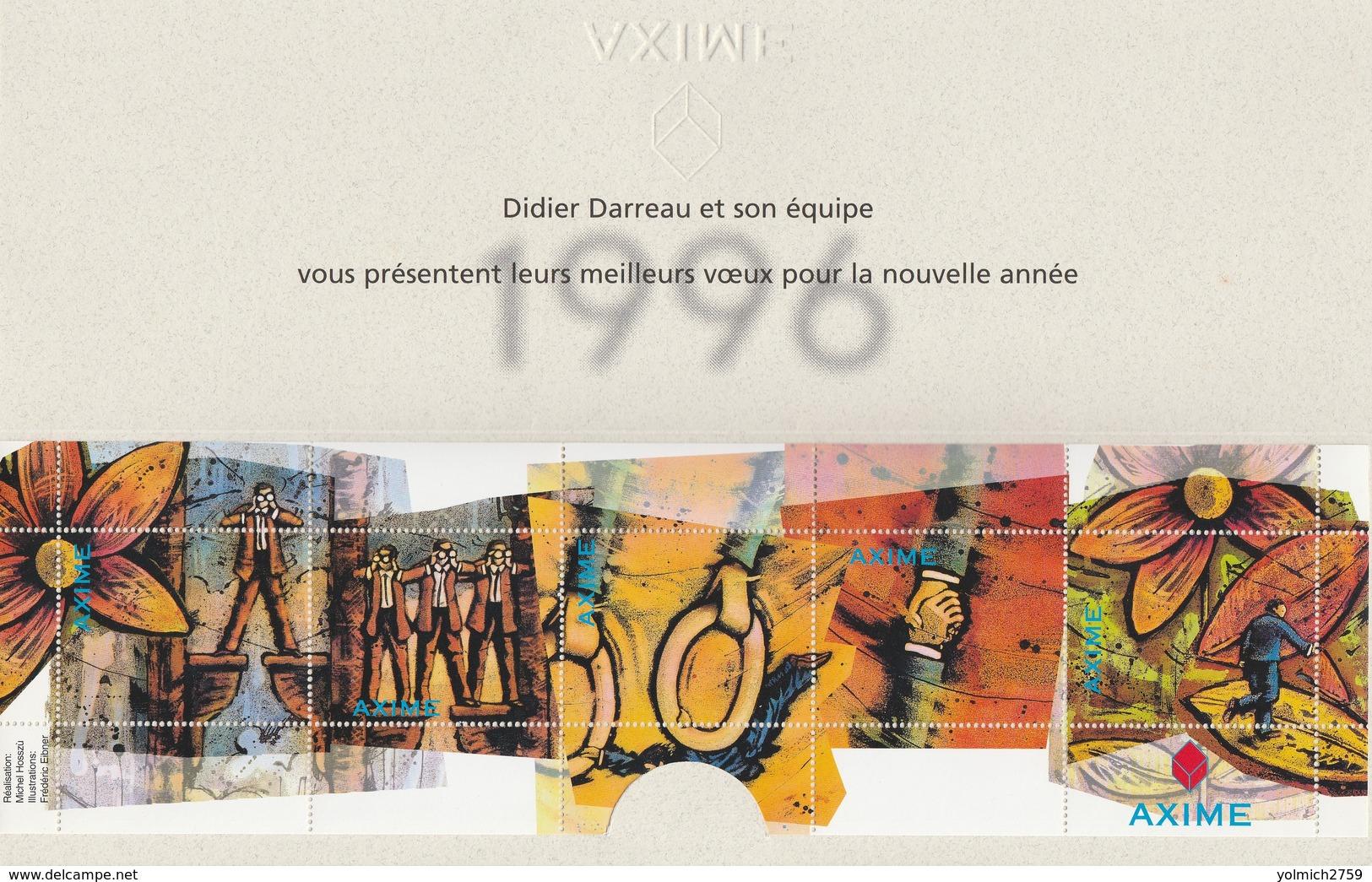 FEUILLET De 5 VIGNETTES AXIME (Vœux 1996) Dans Son Encart - Unclassified