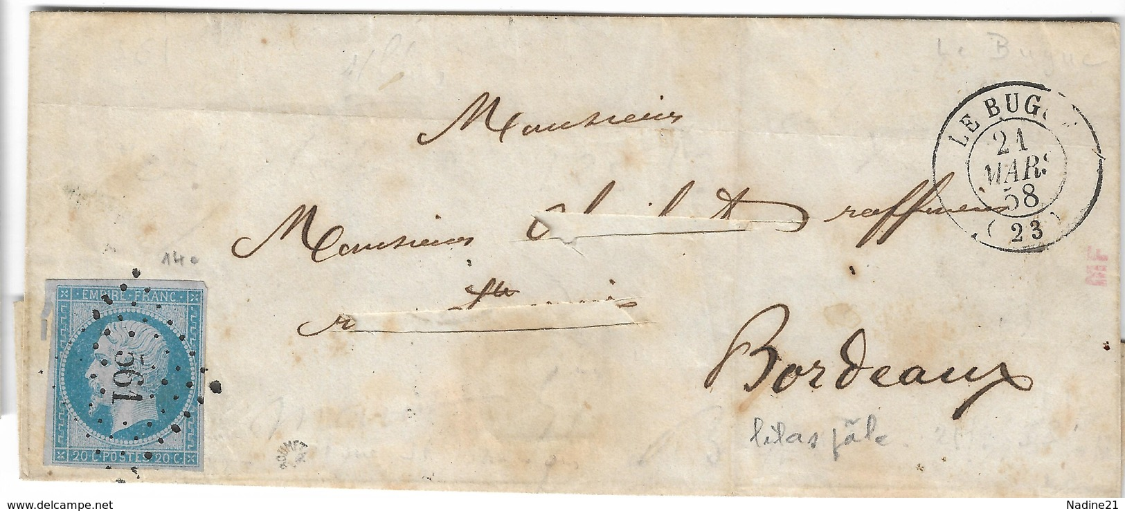 014. LSC N°14 Bleu Lilas - Càd Le Bugue (DORDOGNE) - PC. 561- Signée Roumet - R - 1858 - 1849-1876: Classic Period