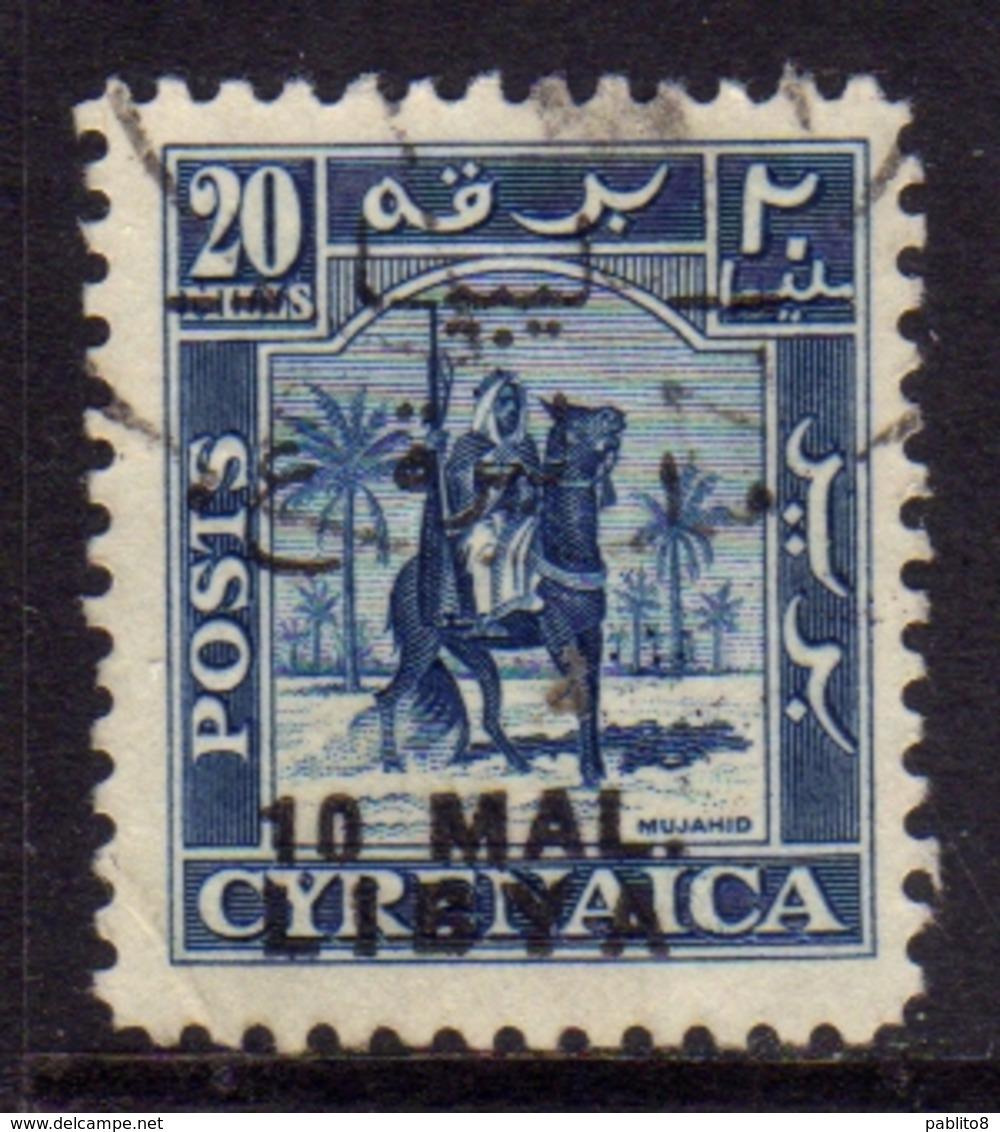 LIBIA LIBYA 1951 REGNO INDIPENDENTE EMISSIONE TRIPOLITANIA 10 MAL SU 20m USATO USED OBLITERE' - Libië