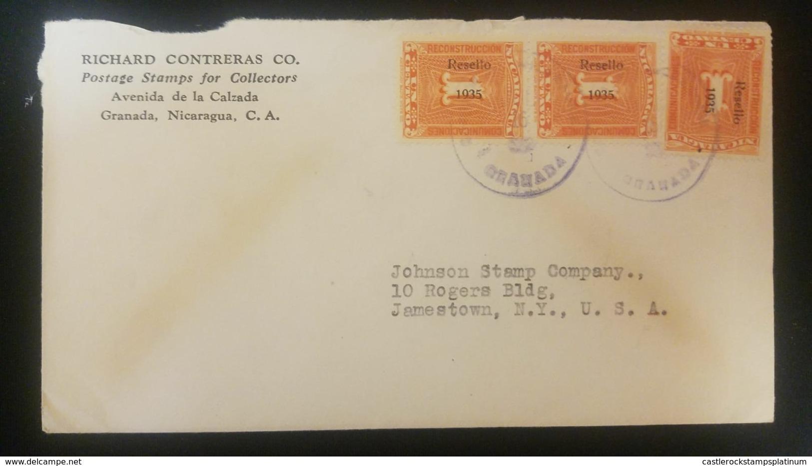 O) 1935 NICARAGUA,Ra-45, NUMERAL 1 -RESELLO - COMUNICACIONES -COMMUNICATIONS, OVERPRINTED, FROM GRANADA TO USA - Nicaragua
