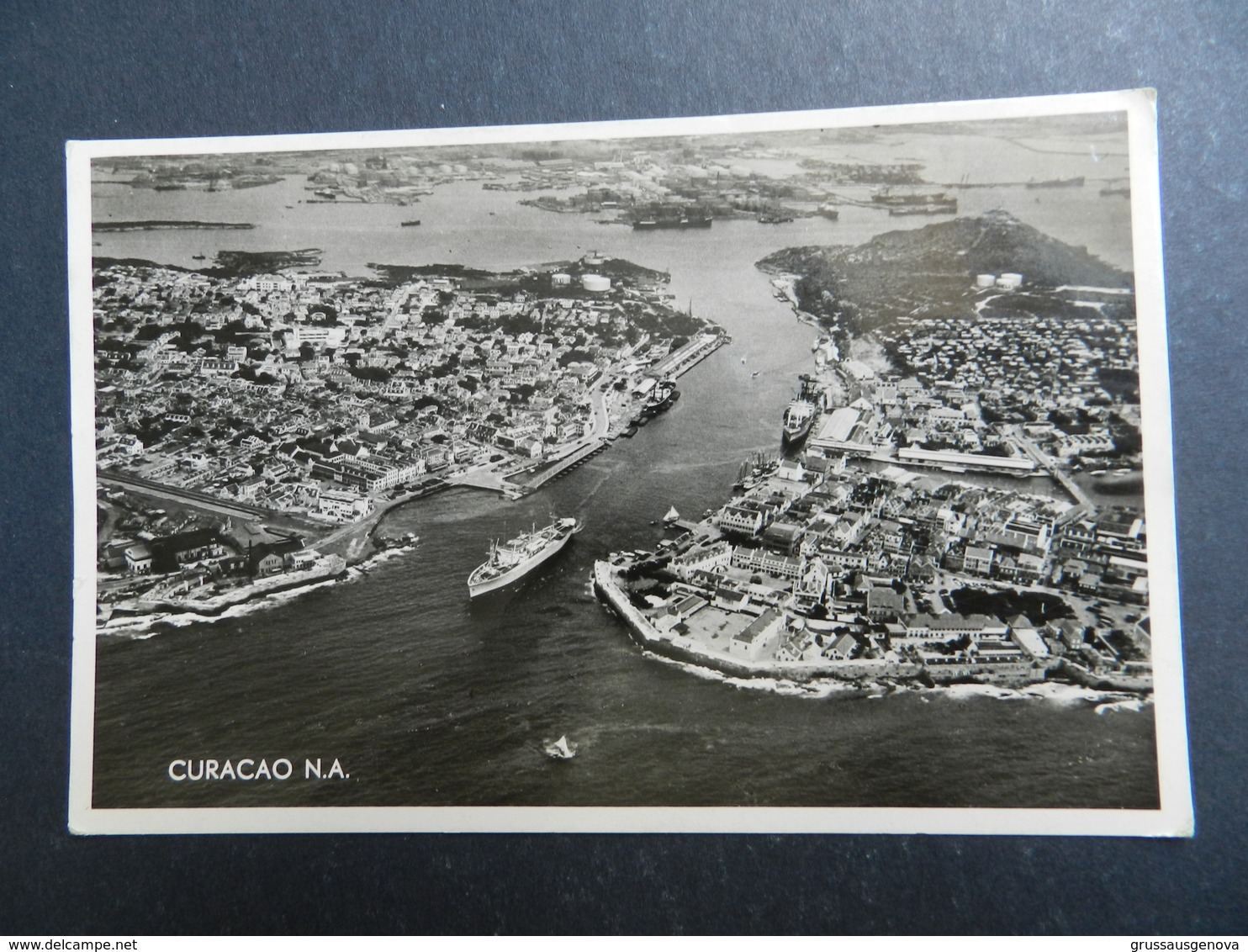 19940) ANTILLE OLANDESI CURACAO AIR WIEW OF HARBOR VIAGGIATA 1956 - Curaçao
