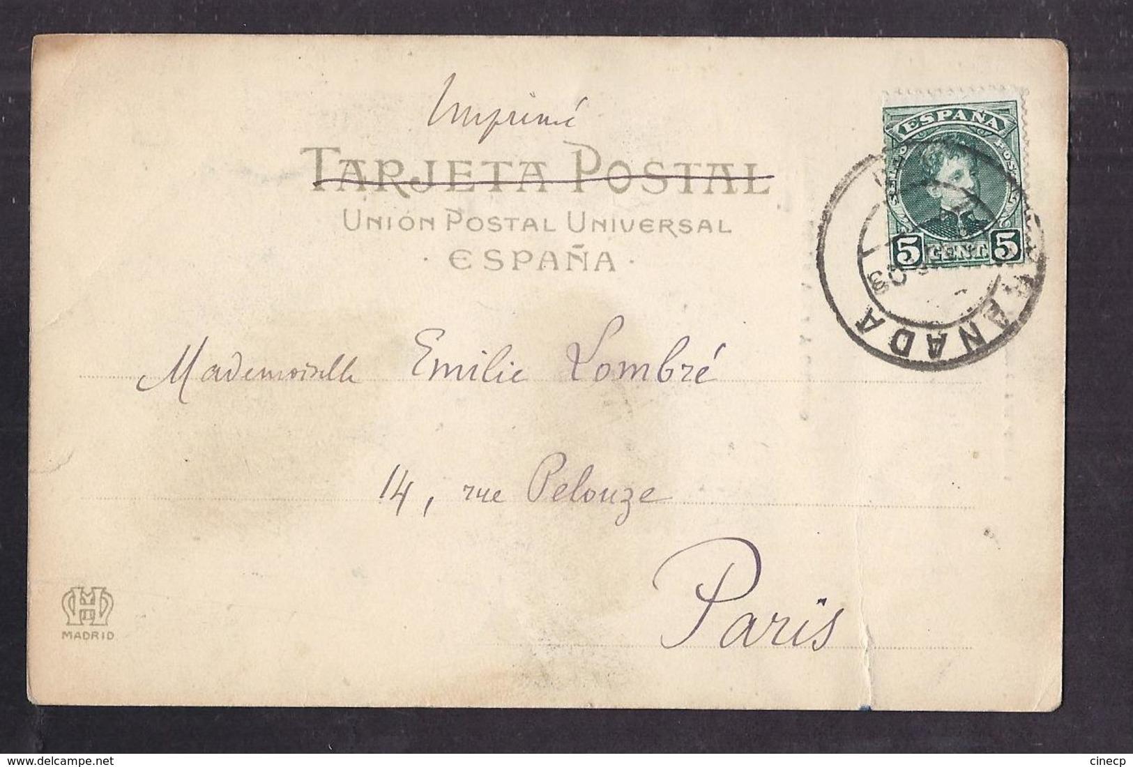 CPA ESPAGNE - GRENADE - GRANADA - Torre De La Vela Y Ciudad TB PLAN D'une Partie De La Ville ANIMATION ANE Maisons 1903 - Granada