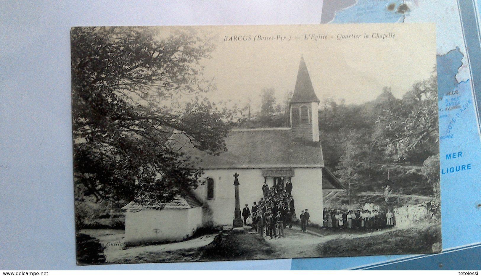 CPA Barcus Animée Eglise - France