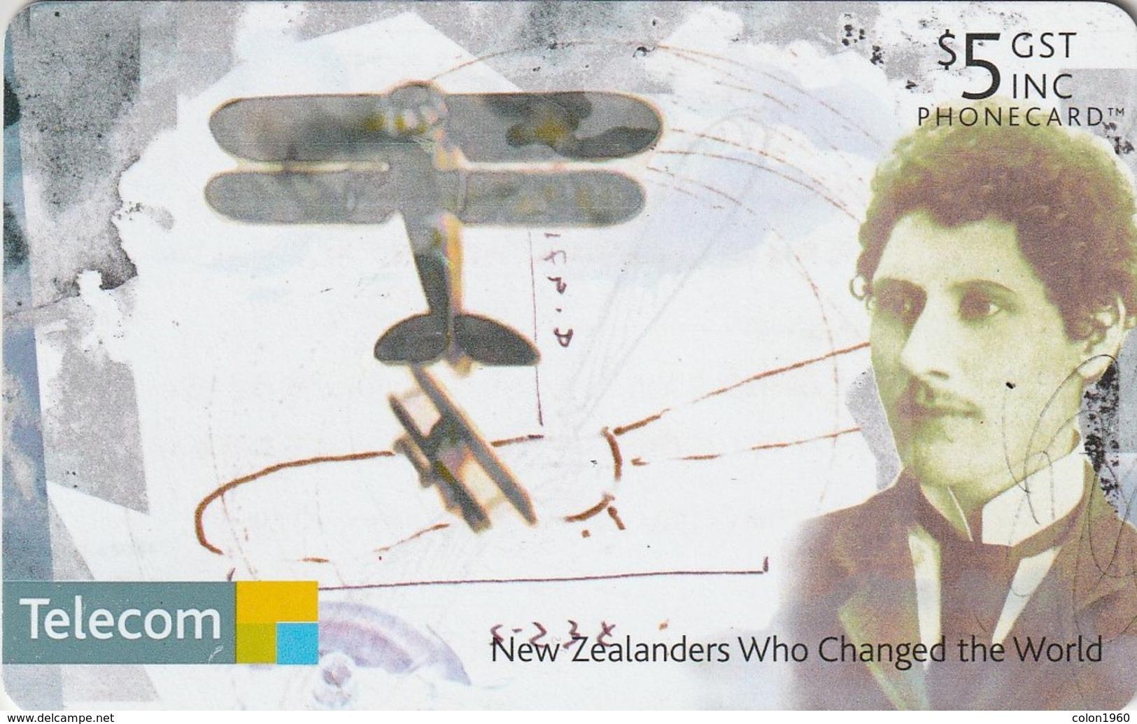 TARJETA TELEFONICA DE NUEVA ZELANDA, AVIONES. Richard Pearse. NZ-C-123. (090) - Avions