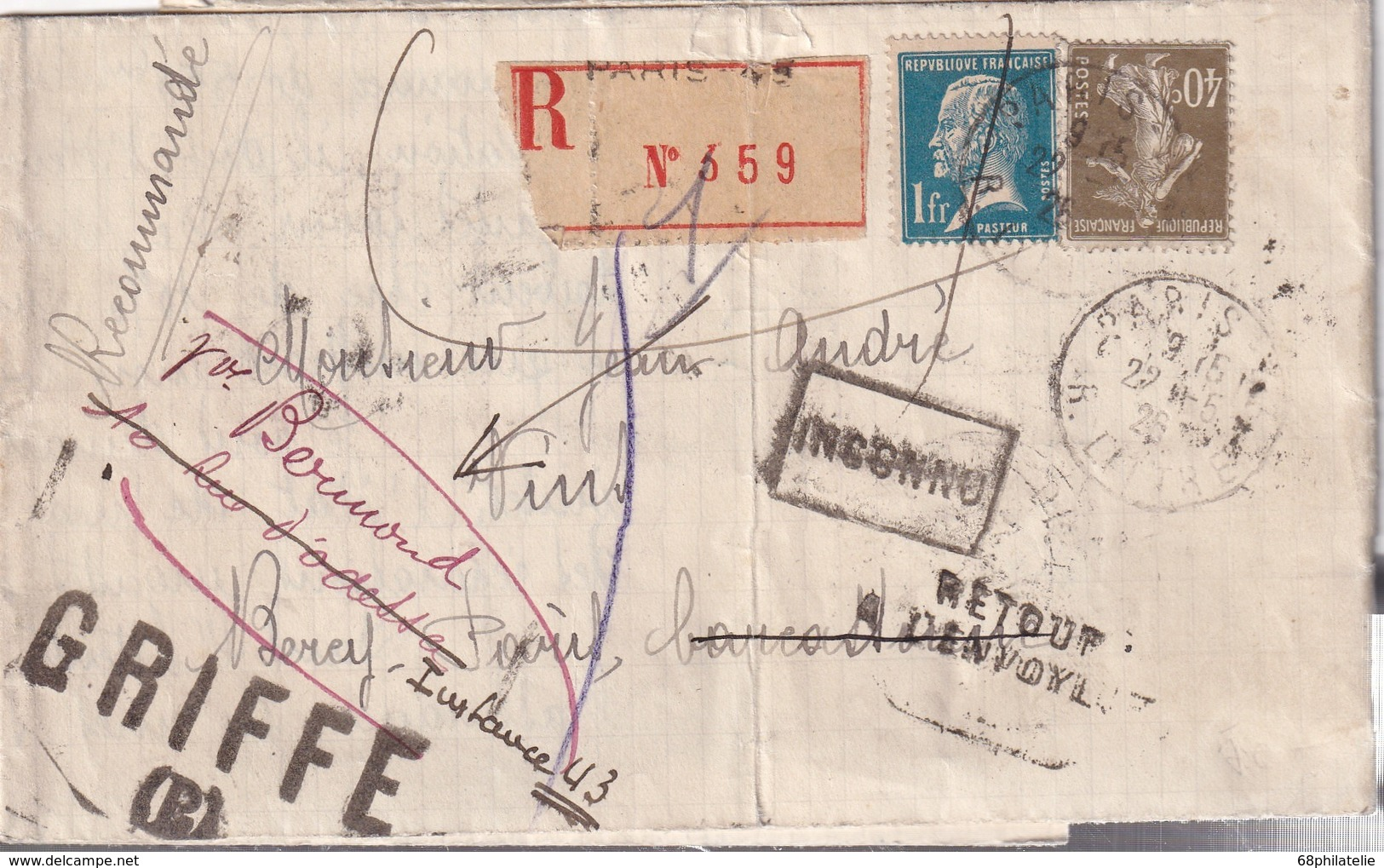 FRANCE1926 LETTRE RECOMMANDEE DE PARIS AVEC RETOUR A L'ENVOYEUR - Marcophilie (Lettres)