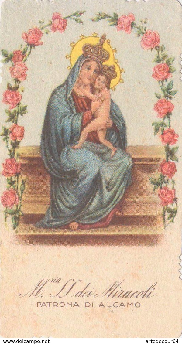 Santino Fustellato Maria Ss.dei Miracoli - Patrona Di Alcamo - Santini