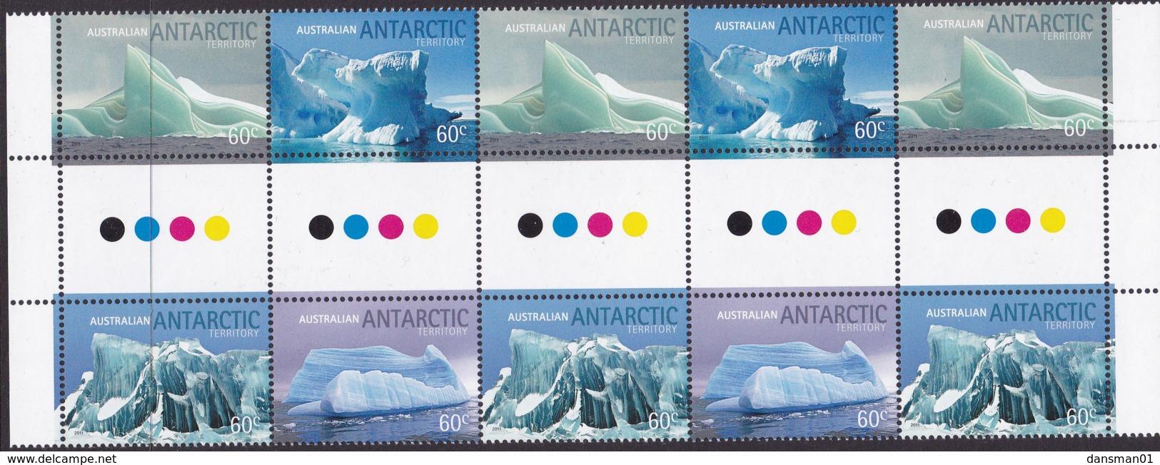 Australia Antartic Territory 2011 'Icebergs'  Mint Never Hinged Gutter - Unused Stamps