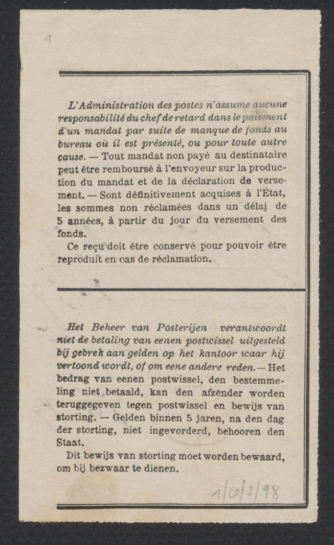 """Document De La Poste - Récépissé De Versement + Obl Simple Cercle """"Charleroi (Station) / Mandats"""" (1899). - Documentos Del Correo"""