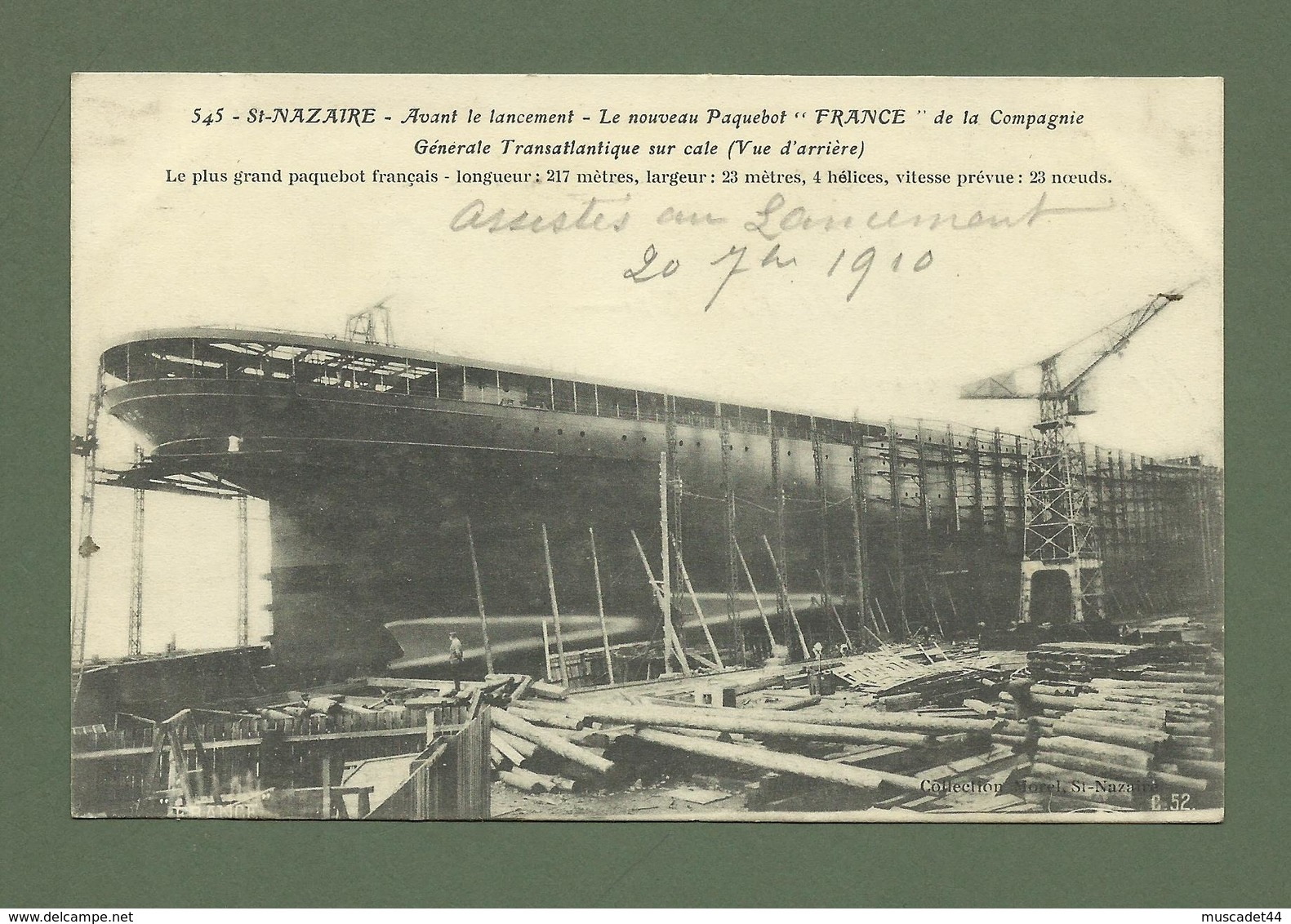 CARTE POSTALE 44 LOIRE ATLANTIQUE SAINT NAZAIRE AVANT LE LANCEMENT LE NOUVEAU PAQUEBOT FRANCE DE LA CGT - Saint Nazaire