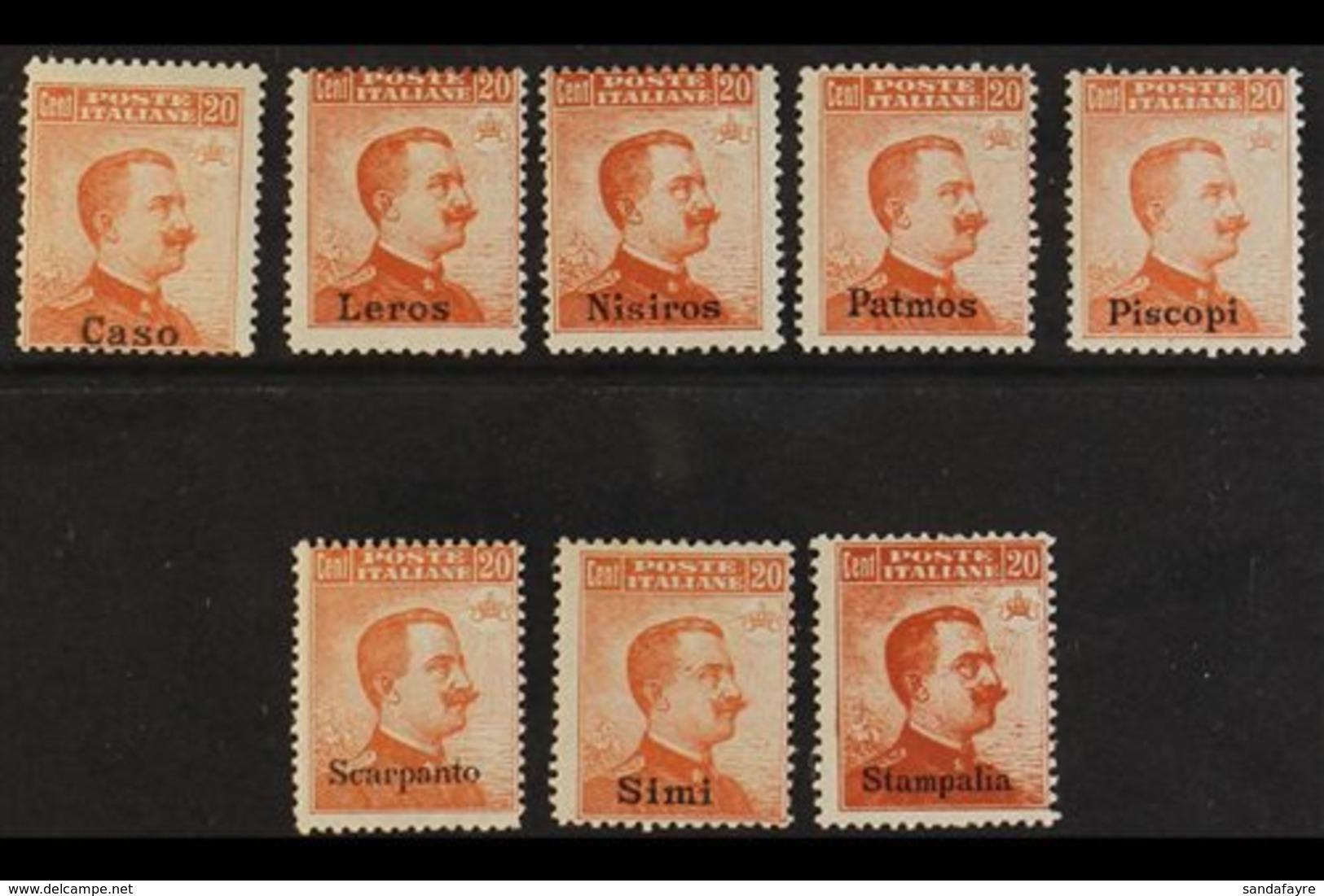 1917 20c Orange, No Watermark Ovptd Issues From Caso, Leros, Nisiros, Patmos, Piscopi, Scarpanto, Simi & Stampalia, Sass - Egée
