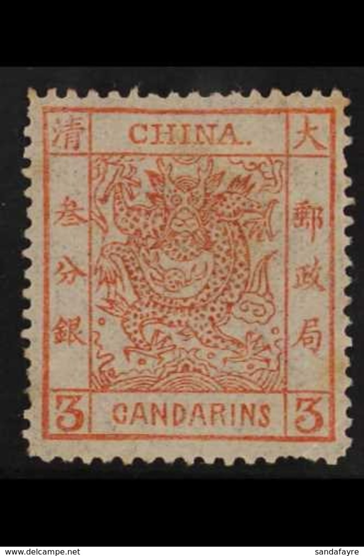 1878-83 3ca Vermilion Large Dragon On Thin Paper, SG 2a, Very Fine Mint, Several Missing / Short Perfs. A Rare Stamp. Fo - China