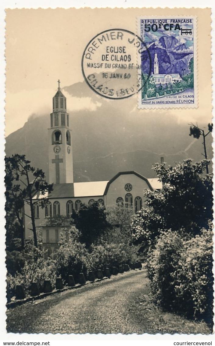 Photo 9 X 14 Faisant CARTE MAXIMUM - 50F CFA /1F Eglise De Cilaos - 1960 - Reunion Island (1852-1975)